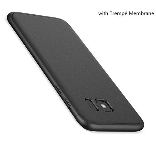 Coque Samsung Galaxy S7 Edge,360 Protection Intgrale 3 en 1 PC Ultra Mince Anti-Choc Anti-Scratch Etui Verre Tremp Membrane Galaxy S7 Edge Case Noir