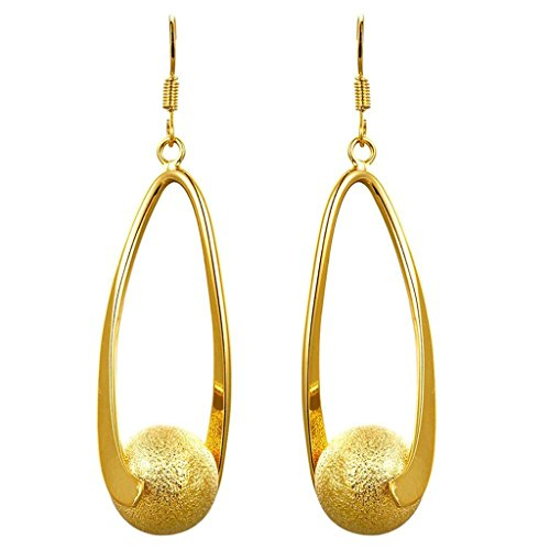 AMDXD Jewelry Gold Plated Women Gold Earrings Hollow Oval Design Ball Pendant
