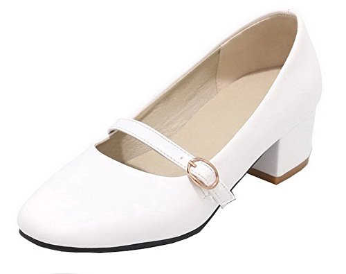 VogueZone009 Women's Pull-On Patent Leather Solid Square Closed Toe Pumps-Shoes White B8ow3tYEDG