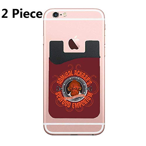 Cusomcardphone Admiral Ackbar'S Seafood Emproium Adhesive Silicone Cell Phone Wallet/Card Holder for iPhone, Android, Samsung Galaxy, Most Smartphones - 2 Piece