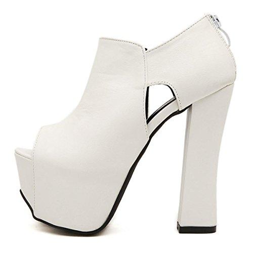 in piattaforma tacchi Court cinghia Dimensione di delle Donne sandali bianco alti White Fish Fibbia pompe scarpe donne lavoro partito Mouth Stiletto nero piattaforma CxwXttqn