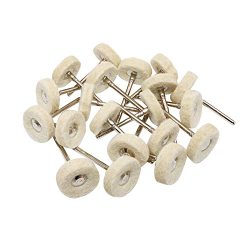 NIUPIKA Wool Polishing Buff Wheel Dremel Buffing Wheels Rotary Tool Accessories Polish Jewelry Watch Mirror 3mm Mandrel 20 Pieces