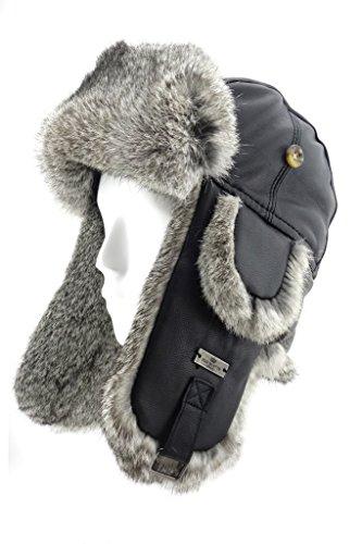 FUR WINTER Lamb Leather Rabbit Fur Aviator Outdoor Trapper Trooper Pilot Ski Hat BLK L