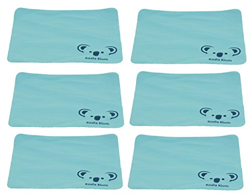 Koala Kloth Microfiber Cleaning Cloth | Eyeglass Lens Cleaner | For Glasses, Phone, Camera, Computer Screen Cleaning | Safe for All Coated Lenses | Lint Free | USA Made | 6 Pack, 6x7 Inch, Turquoise