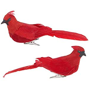 RAZ Imports - 7-inch Clip-On Cardinal Ornaments - Set of 2 Assorted