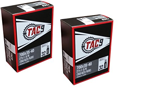 TAC 9 2 Pack Tube, 700 x 35-40 (27 x 1-3/8) Regular Schrader Valve, 32mm, (ISO 622/630)