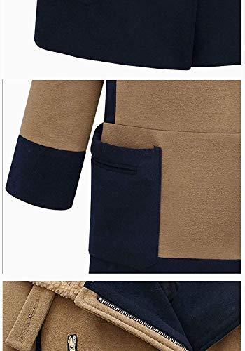 Chic De Vintage Revers Capuchon Mode Elégante Warm À Désinvolte Kaki Bouffant Femme Manches Haute Longues Coat Épaisseur Qualité Outerwear Manteau Hiver 8qaxg7w