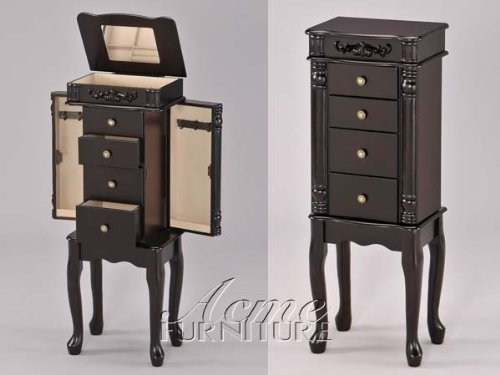 Traditional Style Queen Anne Jewelry Chest Armoire With Jewelry Storage Drawers In Espresso. (Item# Vista Furniture (Chest Of Drawers Queen Anne Style)