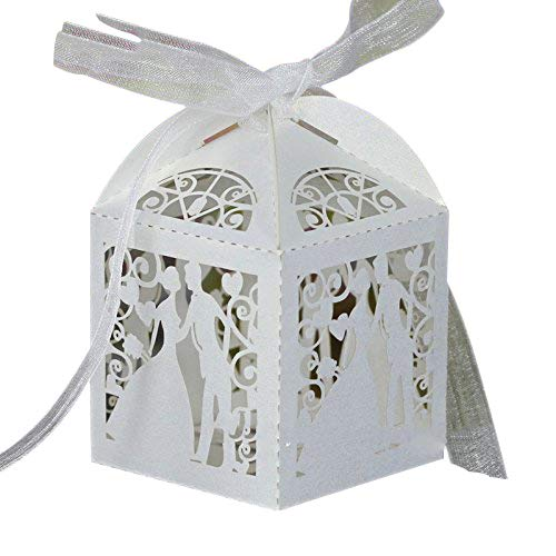 PONATIA 50pcs/Lot 2.3 Inches Laser Cut Pearl Paper Party Wedding Favor Ribbon Candy Boxes Gift Box White (Bride and Groom)