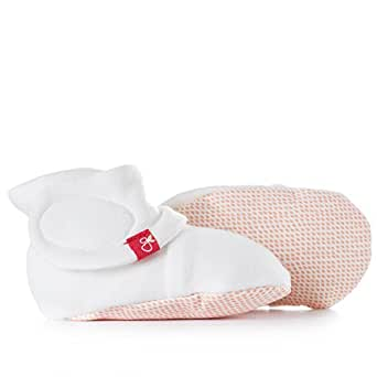 Goumikids Goumiboots Soft Stay On Booties, Year Round Use and Adjusts to Fit as Baby Grows,Drops (Poppy),0 - 3 Months