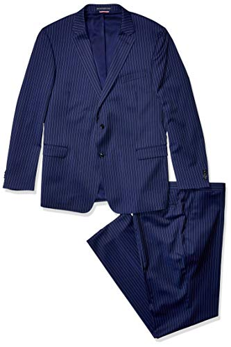 (Tommy Hilfiger Men's Big and Tall Modern Fit Performance Suit with Stretch, Navy Pinstripe, 50L)
