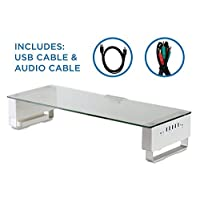 Deals on Mount-It Glass Monitor Stand with 5 USB Ports MI-7266