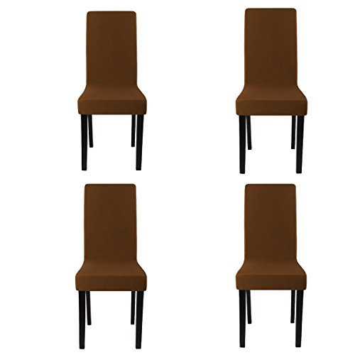 Chairs Covers for Dining room Set of 4, Washable Slipcover, Dining Seat Chair Covers Protector For Wedding Party Restaurant Banquet Home Decor ( Coffee Color) (Dining Banquet Set)