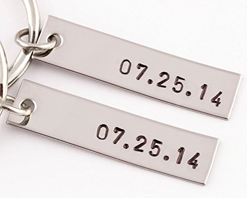 2 Piece Anniversary Date Keychain Set | 2 Keyrings | Date Tag by TwentySix7