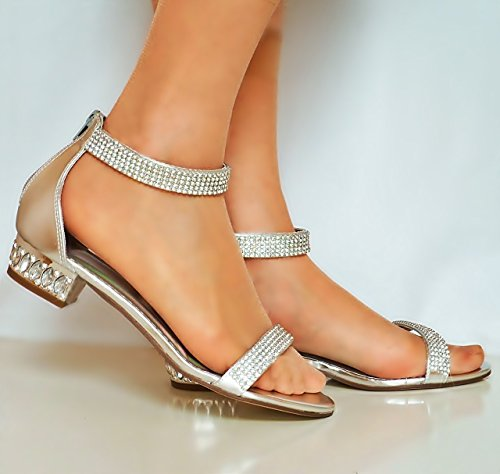 Straps Rock Sandal Ankle on Styles Size Womens Diamante Flat Sparkly Heel 1019 Party Silver Shoes Low 1pH418qw