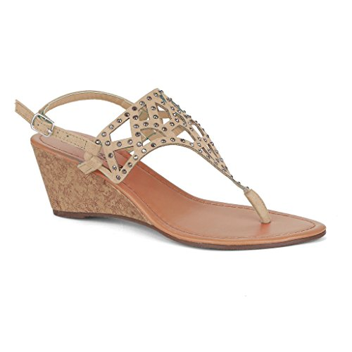 Twisted Women's Riley Faux Suede Cutout Gladiator T-strap Low Wedge Sandal with Rhinestones - BEIGE, Size 9
