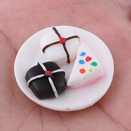 NATFUR 1/12 Dollhouse Miniature Foods 3pcs Cake Dessert and Ceramic Plate Tableware ()