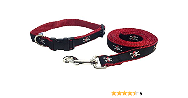 Cat collar and leash set pirate themed skull and bones navy blue