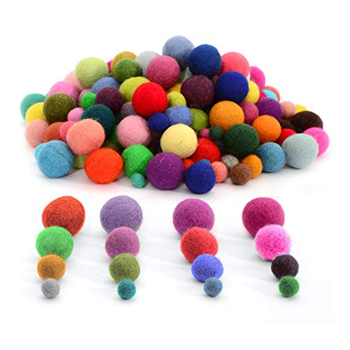 Glaciart One Felt Pom Poms, Felt Balls (240 Pcs) 4 Sizes: 1,1.5, 2 and 2.5 centimeters, Handmade Felted 60 Color (Red, Pink, Blue, Yellow, Pastel and More), Bulk Small Puff for Felting and Garland