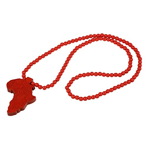 SODIAL(R)1pcs Hip-Hop African Map Pendant Wood Bead Rosary Necklaces Red