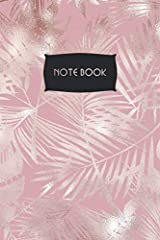 "Notebook: Metallic Pink Tropical Foliage: Stunning Art Design 6 x 9"" Slimline - Wide Rule Lined Pages Paperback"