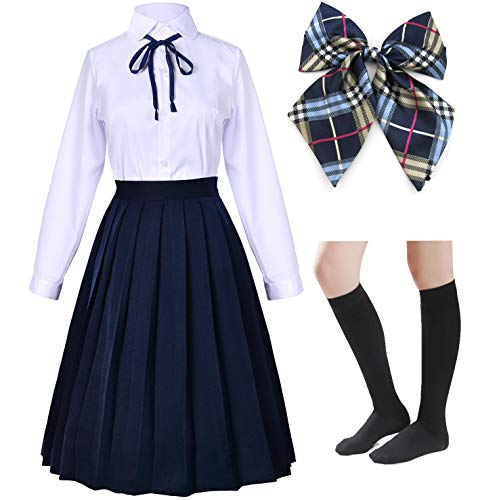 Long Dress Classic Japanese School Girls Sailor Shirts Pleated Skirt Uniform Anime Cosplay Costumes with Socks Set(Navy)(2XL = Asia 3XL)(SSF20NV) (Navy Blue Knee High Socks With Bows)