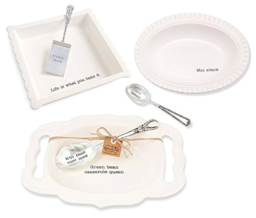 - Mozlly White Ceramic Mud Pie Value Pack, Includes Green Bean Casserole Queen Platter, Mac Attack Bowl, Life Is What You Bake It Brownie Baking Set Bakeware with Serving Utensils Kitchenware (6 Pcs)