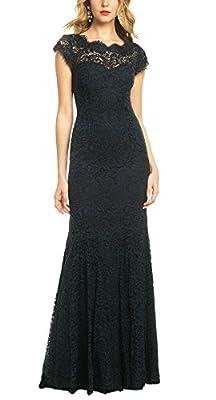 REPHYLLIS Women's Retro Floral Lace Vintage Wedding Maxi Bridesmaid Long Dress