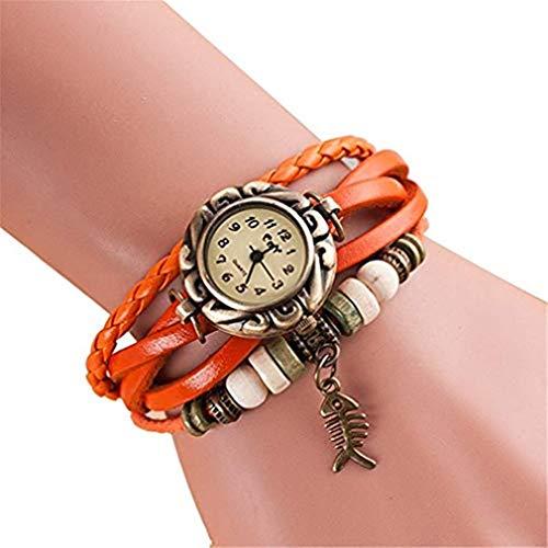 Windoson New Bracelet Small Rock Ball Fishbone Women's Retro Sen Female Fashion Punk Trend Female Student Watch (Orange) ()