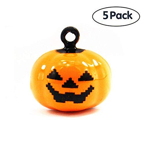 S-Lifeeling 5 Pack of Pet Bell Sets Halloween Pumpkin Bell 14 X 18 mm Jewelry Findings Pumpkin Jewelry Making Charms for Cat Dog Collar Or Interior Decoration -