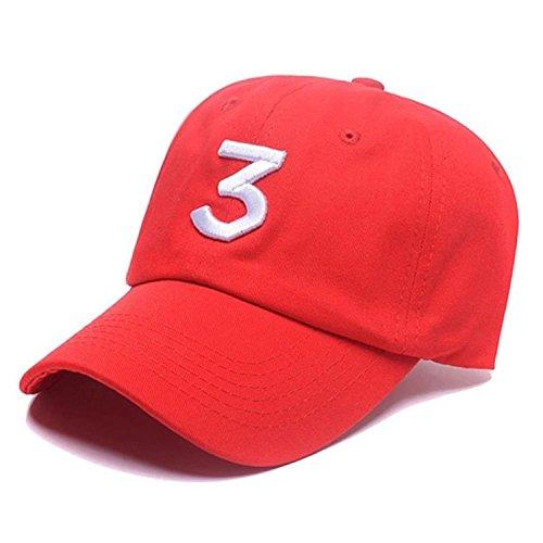 IVYRISE Embroider Chance Baseball Caps Hats Cool Baseball Rapper Number 3 Caps, Rock Hip Hop Classic Casquette with Adjustable Strap, Cotton Sunbonnet Plain Hat (red)