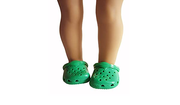 b0838b0e498c5d Amazon.com  Kelly Green Kroc Duc Shoes Fits American Girl Doll (made by  Monique s Corp)  Toys   Games