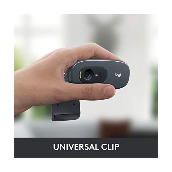 Logitech C270 HD Webcam HD 720p30fps Widescreen HD Video Calling HD Light Correction Noise Reducing Mic for Skype FaceTime Hangouts WebEx PCMacLaptopMacBookTablet Black