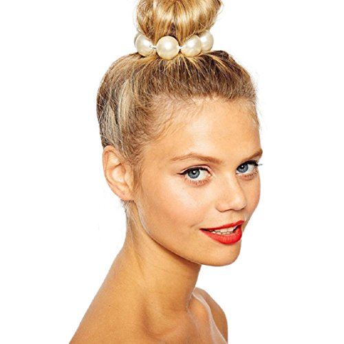 Waymine Newest Women 15mm Pearls Bead Crown Stretch Head Hair Dress Cuff Band Bridal (15 Mm Cuff)