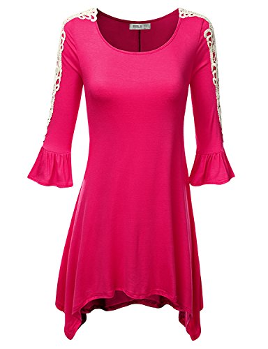SJSP Solid Color Soft Fabric Loose Fit Beading FUCHSIA Tunic Top,XX-Large,2XL