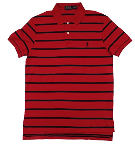 Polo Ralph Lauren Men's Pony Logo Striped Interlock Polo Shirt (XL, RL 2000 Red)
