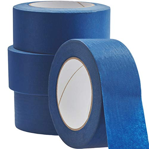 (No-Residue 2 Inch, 60 Yard Blue Painters Tape 4 Pk. Easy-Tear, Pro-Grade Removable Masking Tape Great for Home, Office or Commercial Contractor. Clean, Drip-Free Painting with Wide Crepe Paper Rolls)