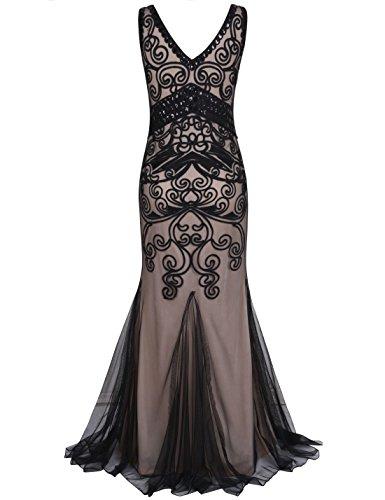 PrettyGuide Mujeres 1920s Vestido De Baile Largo Sirena Formal Vestido De Noche Negro beige