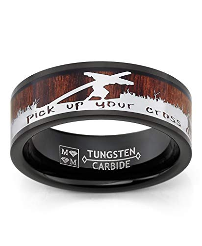 Metal Masters Co. Black Tungsten Carbide Band with Wood Inlay Jesus Carrying a Cross Religious Ring 12