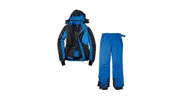 Traje de esquí para hombre (2 piezas, talla 48, chaqueta insulada), color azul/negro: Amazon.es: Deportes y aire libre