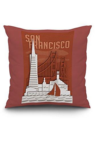 San Francisco, California - Shadow Box (20x20 Spun Polyester Pillow, Custom Border) (Shadow Box Pottery Barn)