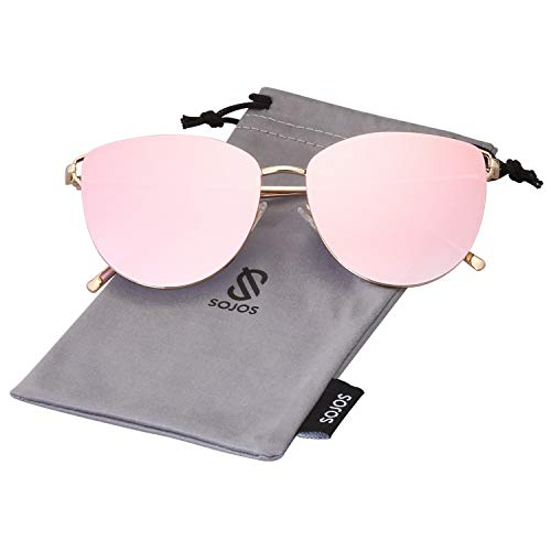 SOJOS Mirrored Flat Lens Fashion Sunglasses for Women SJ1085 SJ2036 with Gold Frame/Gradient Pink Mirrored Lens