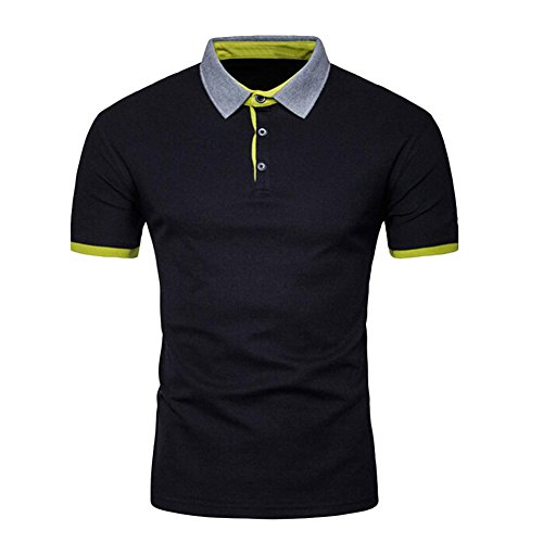 Price comparison product image Blouse,  Han Shi Men's Fashion Polo T-shirt Short Sleeve Shirt Tops Tanks Camis Vest (M,  Black)