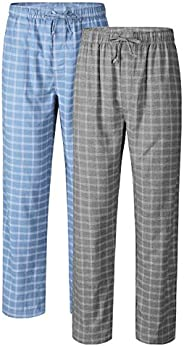 DAVID ARCHY Men's Check Lounge Sleep Bottoms Cotton Flannel Woven Pajamas