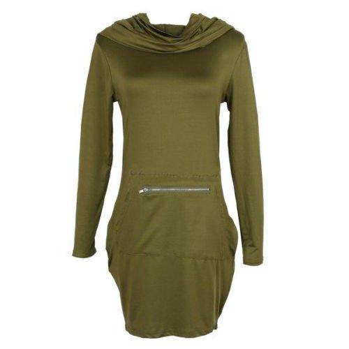 ZEARO Damen langärmliger Kapuzenpullover Bodycon Hoodies Pullikleid Sweatshirt Kleid