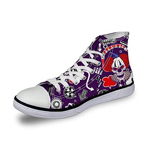 (Santiro Clown Skull Print Fashion Canvas Sneakers Women's Men Casual Shoes purple-37)