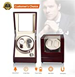 Watch Winder, Watch Winder case for Man to Storage Watches, Watch Winder Box Automatic Watch Winder Display 2 Watch with Battery, Black Dual Watch Winder Double Watch Winder Wooden Watch Winder