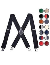 Brooben Men Suspenders Adjustable Elastic 2 Inch Wide Strong Clip Black