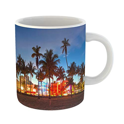 Emvency Coffee Tea Mug Gift 11 Ounces Funny Ceramic Miami Beach Florida Hotels and Restaurants at Sunset on Ocean Drive World Gifts For Family Friends Coworkers Boss Mug