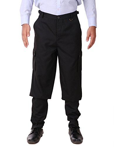 ThePirateDressing Steampunk Victorian Cosplay Costume Mens Airship Pants Trousers C1487 (Black (Poly Viscose Fabric)) (Large)]()